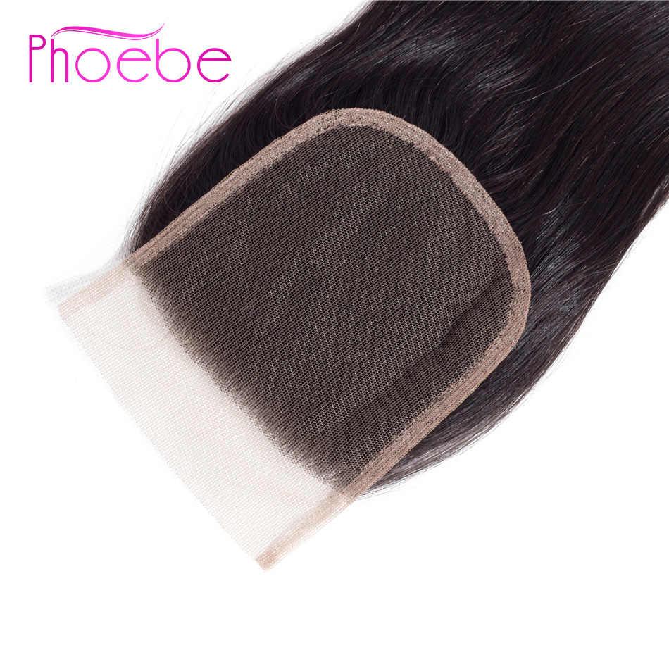 Phoebe волосы 100% человеческие волосы закрытие 8-20 дюймов малазийские прямые волосы 1 шт. кружевной чехол Бесплатная доставка не Реми натуральный цвет