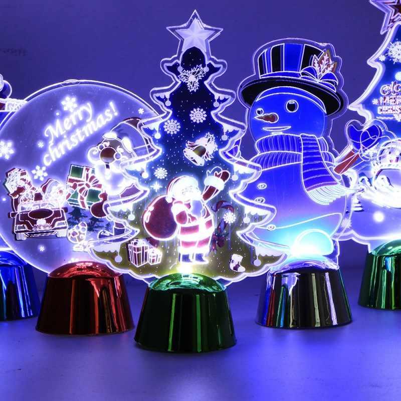 Рождество 3D настольная лампа Санта-Клаус Снеговик узор мини Ночной светильник рождественские украшения 3D ночник для детской комнаты подарок для детей