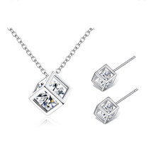 TJP Trendy Cube Crystal Women Earrings Jewelry Sets New Fashion 925 Sterling Silver Necklace For Girl Lady Party Accessories Hot