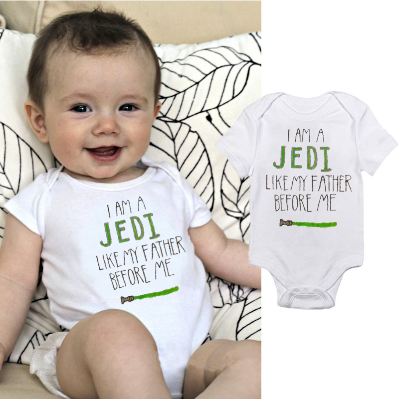 DERMSPE New Newborn Baby Boys Girls Short Sleeve Letter Print I Am A Jedi Like My Father Before Me  Romper Baby Clothes
