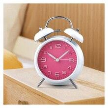 -No. Funciona Ultra-clásico tranquilo clásica tradicional de escritorio de la tabla de Vintage reloj de alarma por la campana con luz de noche verde/rosa