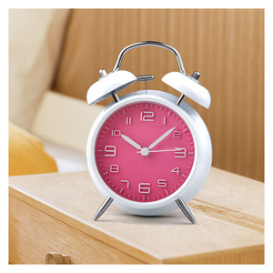 Non-ticking Ultra-quiet Classic Classical Traditional Table Desk Vintage Alarm Clock by Chime with Night light Green/PInk