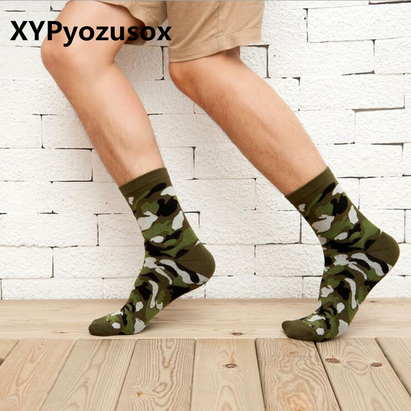 Korean New Men Military Socks Graffiti Green Crew Cotton Socks For Male Jungle Style Winter Classic Men's Camouflage Socks Warm