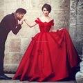 Vestido de bola roja formales vestido de noche con arcos largo mullido vestido de fiesta robe de soirée