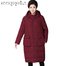 Middle-aged Autumn Winter Jacket Women Plus Size 2019 Loose Warm Cotton Padded Thick Hooded Long Parkas Outerwear XL-4XL цены онлайн
