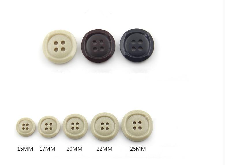 Q414A Q414B 20mm 23mm Gris Claro Beige Efecto De Cepillo 4 Agujero Botones Botón