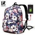 Große Bagpack Frauen 15 6 zoll Laptop Rucksack mit USB Ladegerät Weibliche Drucken Zurück Pack Taschen für Schule Teenager Mädchen Rucksack frau-in Rucksäcke aus Gepäck & Taschen bei