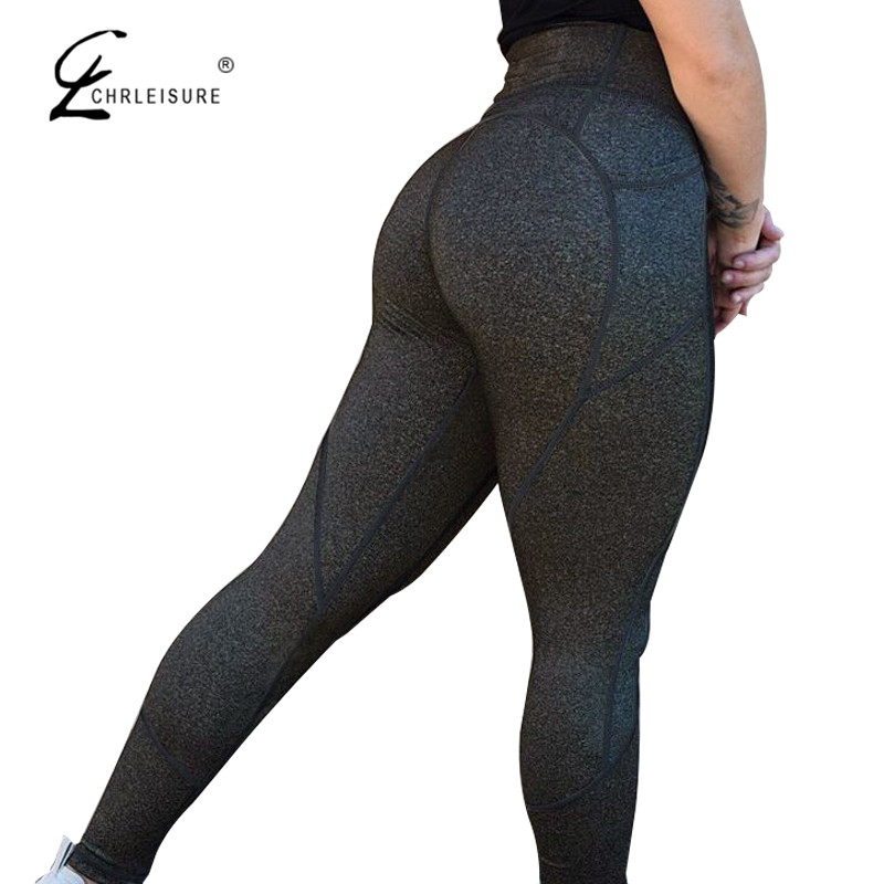 CHRLEISURE Sexy Push Up Leggings Mujer alta cintura del Color sólido Legging Patchwork femenina Sportswear Leggings mujeres entrenamiento Leggings