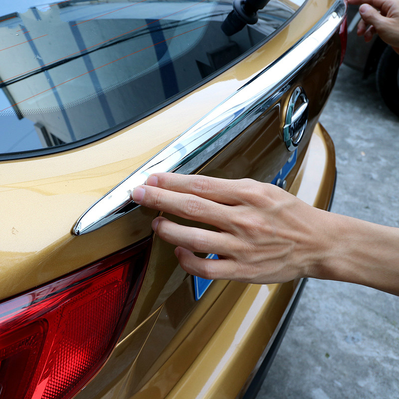 ABS CHROME REAR TRUNK LID COVER TRIM TAILGATE TRIM HATCH DOOR HANDLE MOLDING BOOT FOR NISSAN QASHQAI 2014 2015 2016 ACCESSOTIRES stainless steel rear trunk boot tailgate lid cover trim molding edge strip garnish for nissan qashqai j11 2014 2015 2016