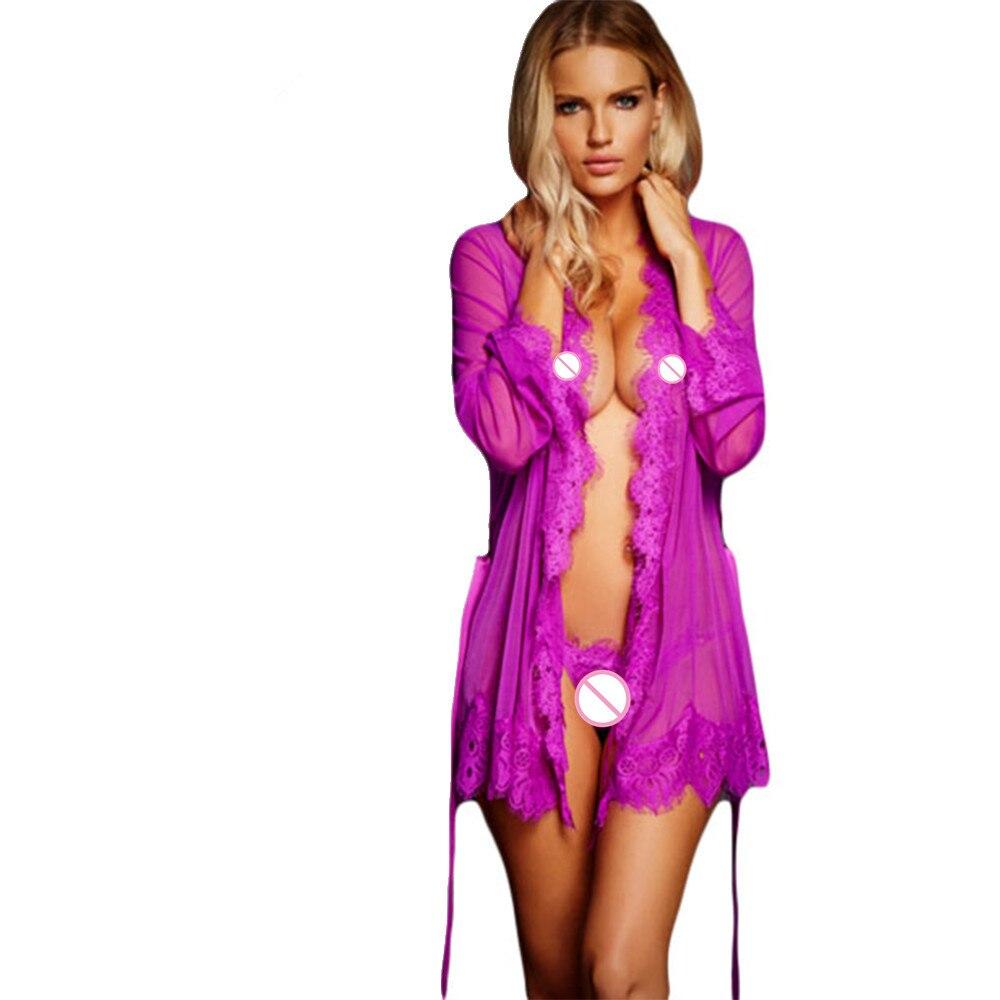 Camicia Da Notte Donna 2018 Sexy Lingerie Hot Sleepwear Women Porn Lace Trim Robe with Thong R80182 M Plus Size XL 2XL 3XL 5XL