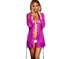 Camicia Da Notte Donna 2018 Sexy Lingerie Hot Indumenti Da Notte Delle Donne Porno Lace Trim Robe con Perizoma R80182 M Plus Size XL 2XL 3XL 5XL