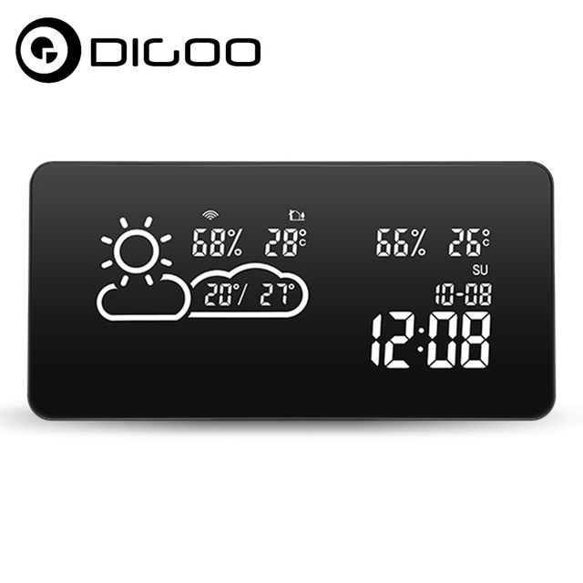 DIGOO DG-C12 Smart WIFI LED Negative Screen Weather Station Smart Sensor Home Automated WIFI Setting Thermometer Hygrometer(China)