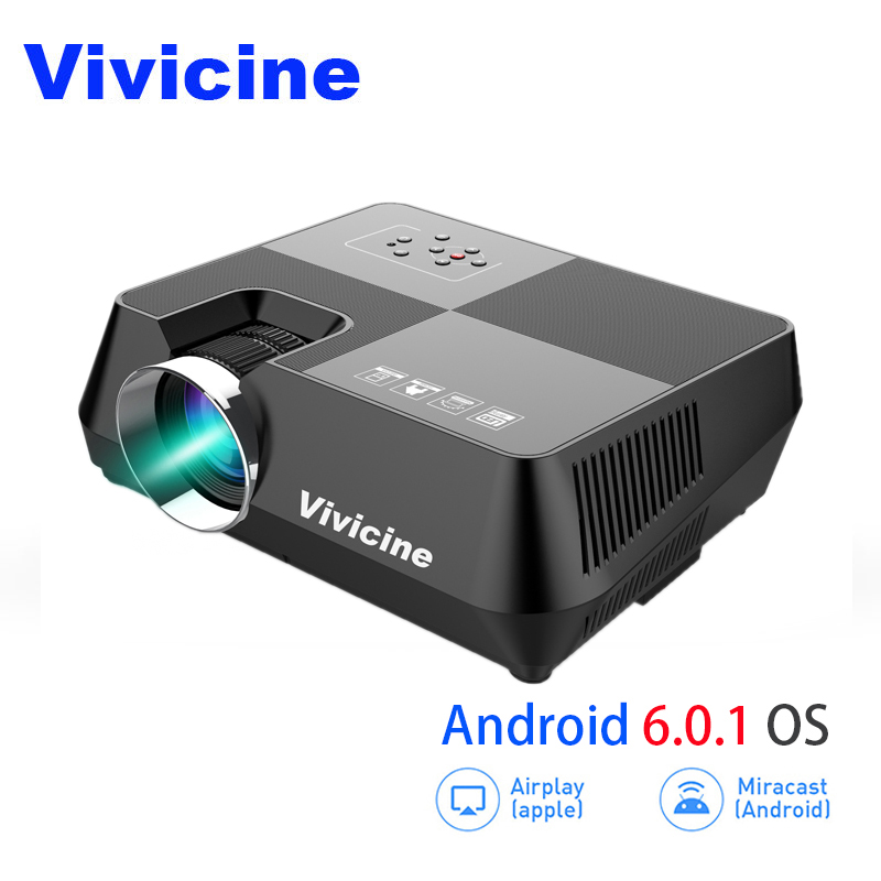 VIVICINE HD LED Projecteur, Portable 720 p HD Home Cinéma Proyector, en option Android 6.0 Bluetooth WIFI Miracast Airplay Beamer