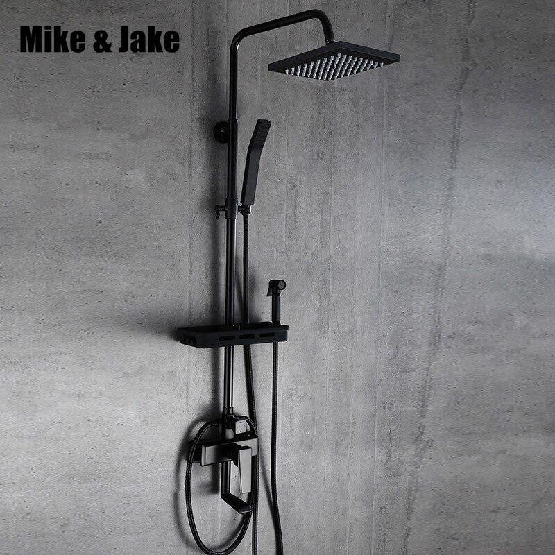 Four function Black shower set with bidet shower bathroom bidet shower set black Bathtub black bidet shower set MJ98888 bathroom luxury pure black shower set with bidet shower with shelf bidet shower set bathroom shower faucet bathtub faucet sets