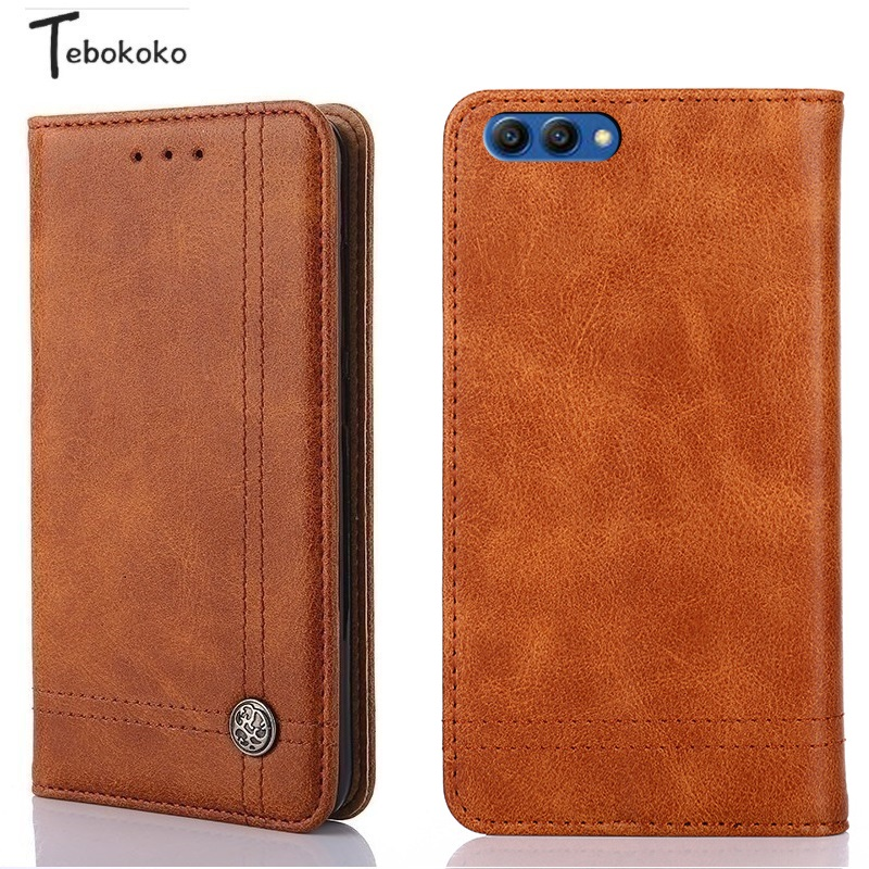 5cdc994a8f87a Retro Leather Case for Huawei Honor View 10 Phone Protective Bag Pouch  Wallet Flip Cover for