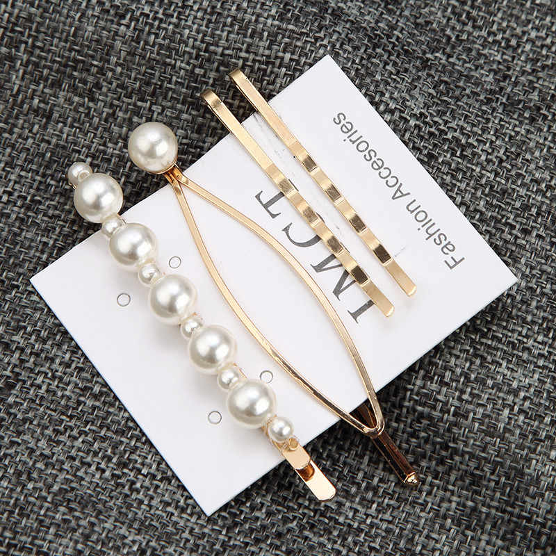 Hot Sale Pearl Beads Hair Clips Set Korean Girl Hair Bobby Pin Geometric Handmade Headwear Accessories For Women Ladies