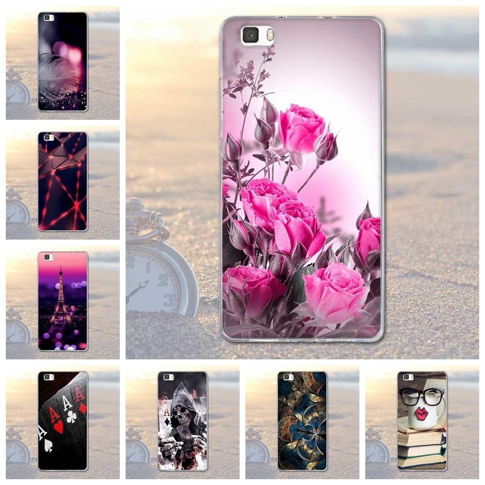 Cubierta para Huawei P8lite Delgada Caso TPU de Silicona Suave Flor Del Árbol Ca