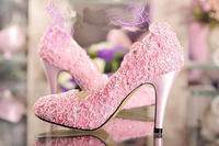 2018 Handmade Romantic Pink Lace Satin rhinestone pearl wedding shoes Bridal Dress Shoes Women Dress shoes Size34 42