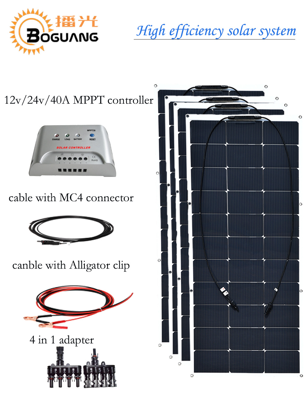 BOGUANG solar system 400w flexible solar panel 100w solar module cell 12v DIY kit for battery light RV Yacht home charge 50w 12v semi flexible monocrystalline silicon solar panel solar battery power generater for battery rv car boat aircraft tourism