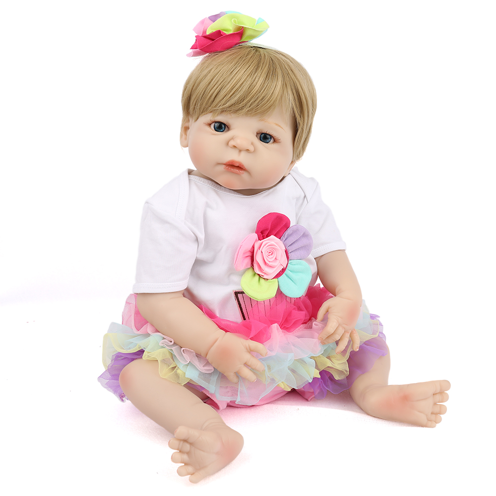 Reborn Baby Doll Soft Silicone Bath Bebe Princess Girl White romper Colorful Hairband 22 inch Lovely