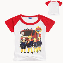 Children 3D Cartoon Funny Fireman Sam Print Tee Tops Clothing For Kids Summer Short Clothes Boy T Shirt Girl T-shirt