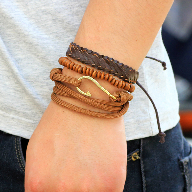 US $2 99 |Miss JQ Men Bracelet New Vintage Fashion Fish Hook Charm Brown  Color Genuine Leather Bracelets For Men Jewelry Accessories-in Strand