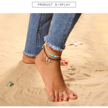 Beach fashion simple anklet ladies temperament blue beaded bohemian retro turtle foot exposed jewelry adjustable