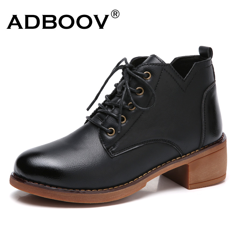 ADBOOV Thich Heels Ankle Boots Women Fashion Leather Oxford Shoes Round Toe Woman Booties Botines Mujer Brown/Black front lace up casual ankle boots autumn vintage brown new booties flat genuine leather suede shoes round toe fall female fashion