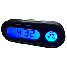 2 In 1 Car LED Digital Clock Automobile Watch Automotive Auto Thermometer Hygrometer Decoration Ornament Mini Clock Car Styling(China)