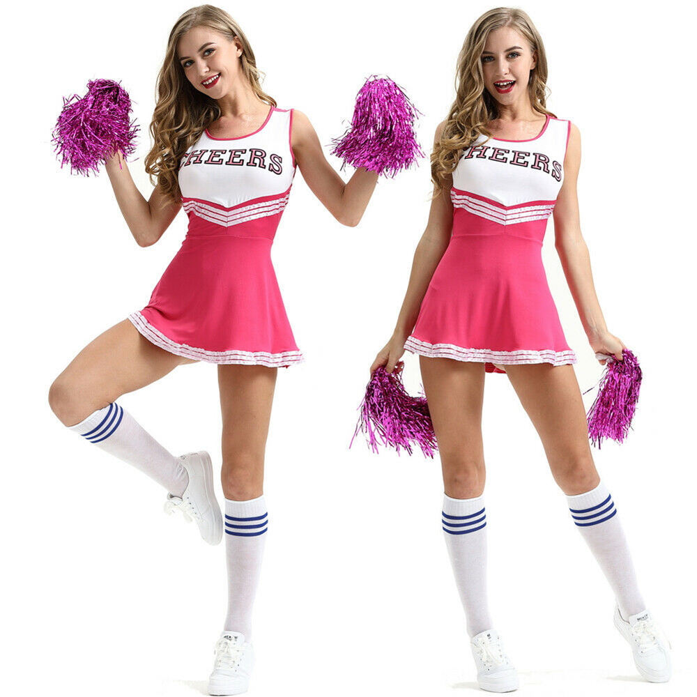 Image 3 - 2019 New Sexy High School Cheerleader Costume Cheer Girls Uniform Party Outfit  Pompoms summer dress-in Dresses from Women's Clothing