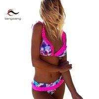 Tengweng 2018 Nueva pajarita Mujeres de la Colmena del Bikini conjunto Floral de impresión de Dos piezas traje de Baño de Aguas Termales de Gran tamaño Traje de Baño Femenino barato