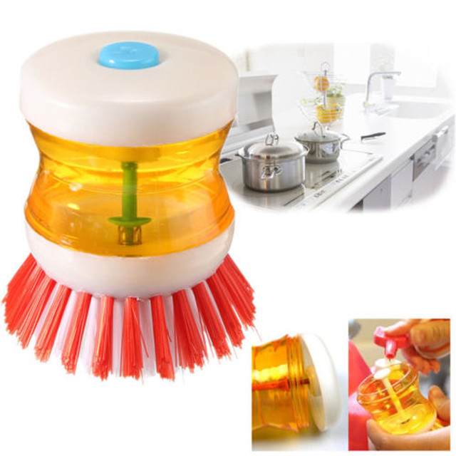 Sili1 Pcs 8.5*6.5cm High Quality Plastic Kitchen Washing Utensils Pot Dish Brush With Washing Up Liquid Soap Dispenser m14