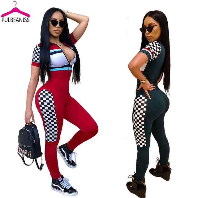 PULBEANISS 2018 Summer Womens Jumpsuits Sexy Long Pant Bodycon Jumpsuit Fitness Romper Short Sleeve Femme Club Print Slim Night