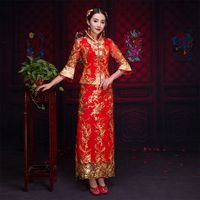 Oriental Asian Bride beauty Chinese traditional Wedding Dress Women Red Floral Long Sleeve Embroidery Cheongsam Robe Qipao style