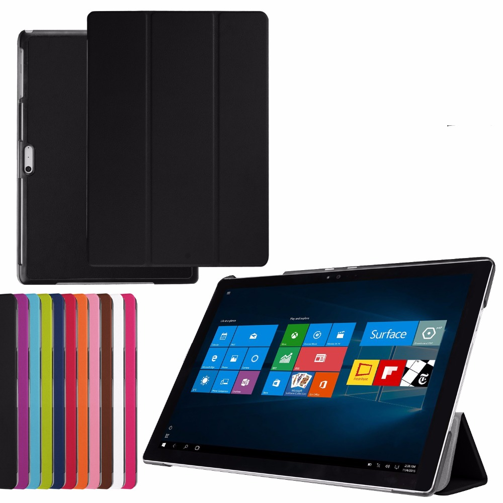 3-Folding Ultra Thin Slim Magnetic Folio Stand Leather Case Smart Sleeve Cover For Microsoft Surface Pro 4 Pro4 12.3