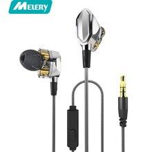 Melery G2 Fones De Ouvido Dual Dynamic Driver 4D Stereo Surround Professional HIFI fone de ouvido Com Cancelamento de Ruído Fones De Ouvido Com Microfone