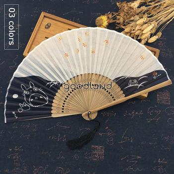 free shipping 1pcs top quality japanese toroto silk fabric bamboo folding hand fan gift for lovers
