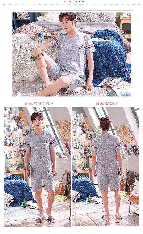 Casual listrado algodão pijamas conjuntos para homens