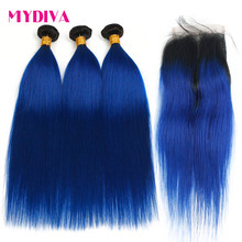 Pre-Colored 2 Tone Blue Brazilian Hair Weave Bundles Straight Ombre 3 Bundles T1B/Blue Dark Roots Human Hair Extensions Non Remy