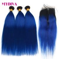 Pre Colored 2 Tone Blue Brazilian Hair Weave Bundles Straight Ombre 3 Bundles T1B/Blue Dark Roots Human Hair Extensions Non Remy