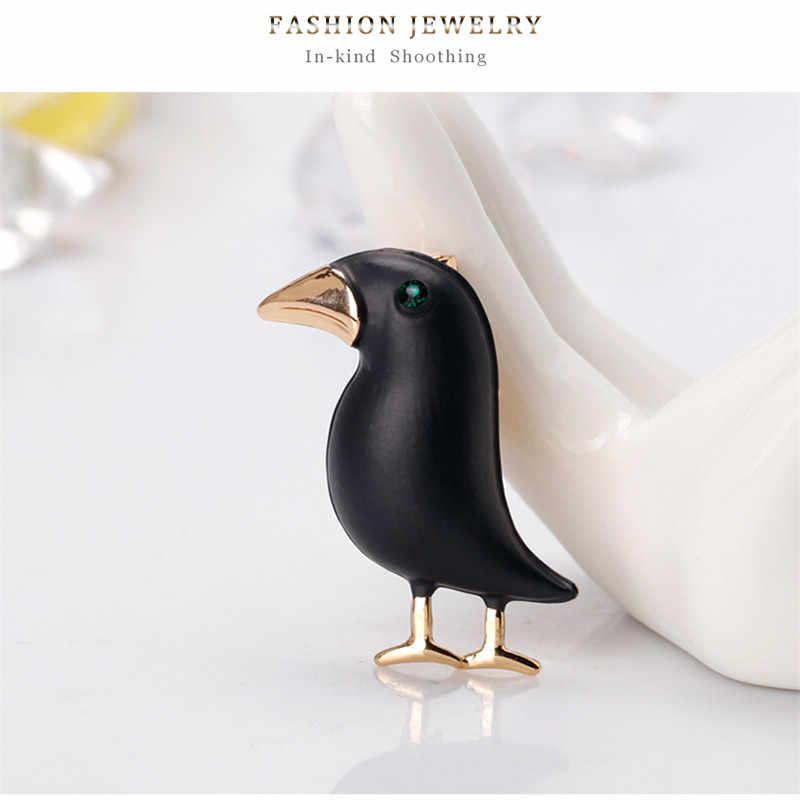 Sitaicery Crow Brooch Black Paint Bird Enamel Brooches Men Women Suits Dress Hat Collar Brooch Pins Animal Scarf Buckle Gift