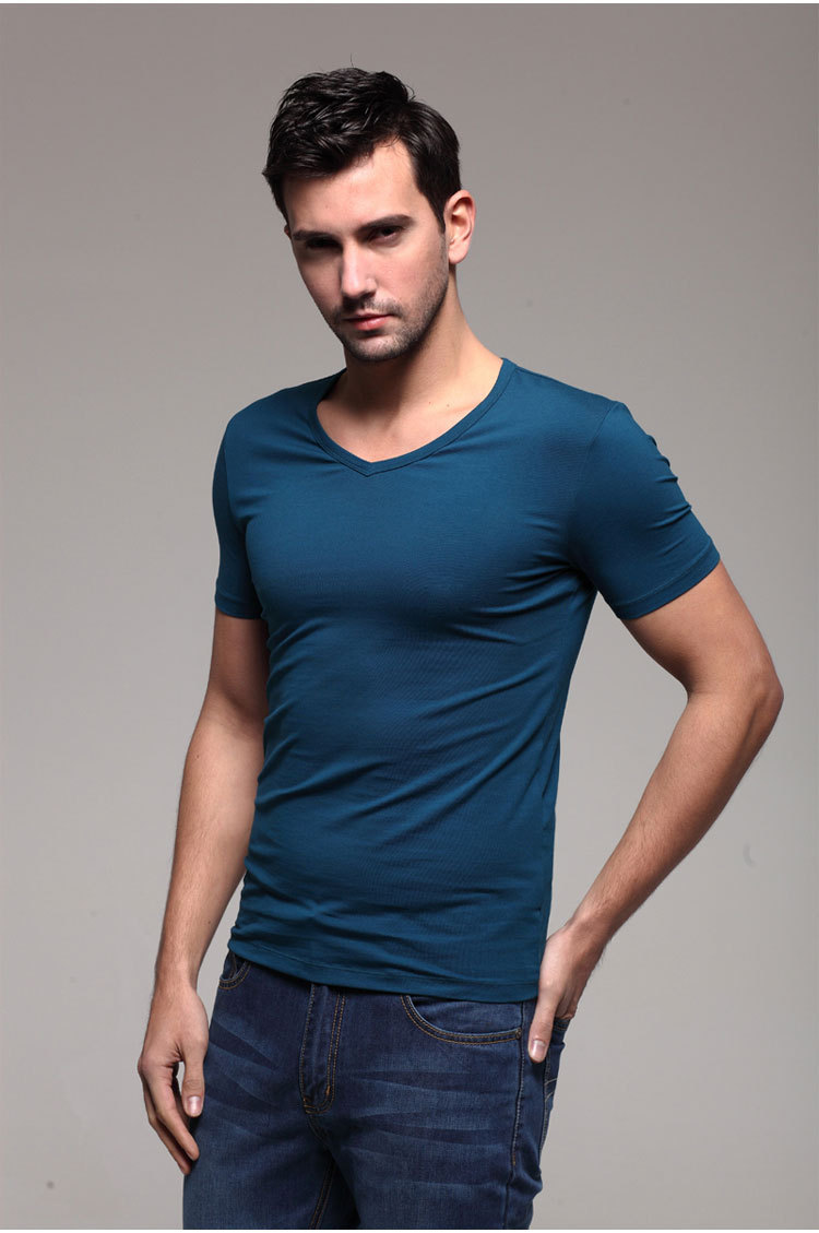 2015 Fashion Mens Tops Short Sleeve Designer T Shirts V Neck Stylish