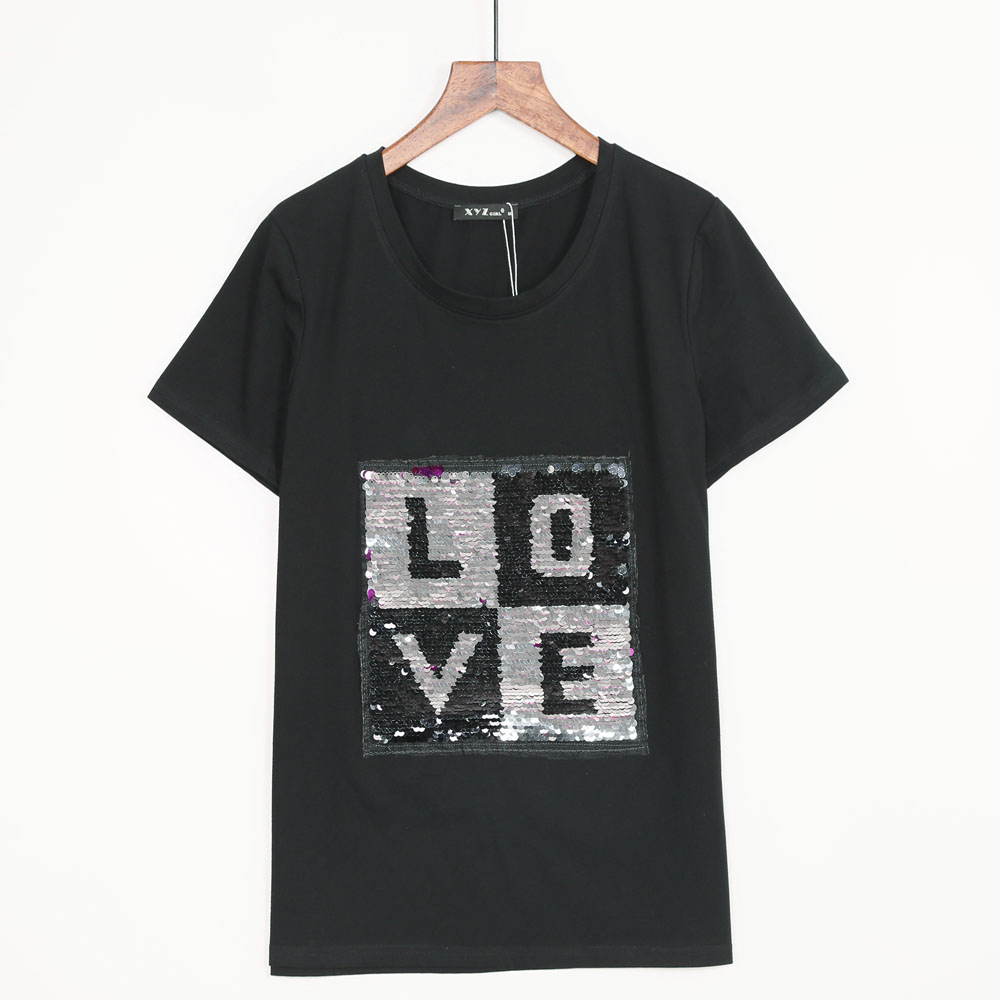 2 colors free shipping t shirt women l o v e sequined t for One color t shirt