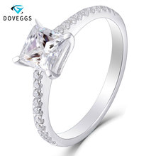 DovEggs Elegant Solid 14k White Gold Center 1ct 5.5mm Princess Cut F Color Prong Setting Moissanite Engagement Band with Accent