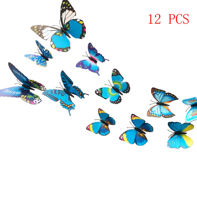 NC Pcs D PVC Butterfly Wall Stickers Home Decor Wall Decals For - Butterfly wall decals 3dpvc d diy butterfly wall stickers home decor poster for kitchen