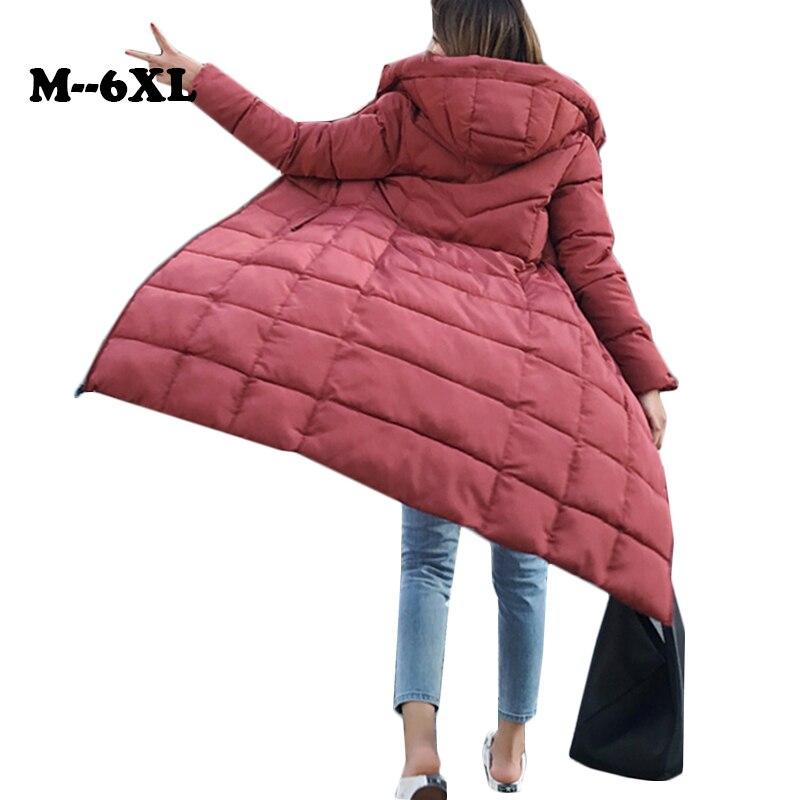 Winter Jacket Women Plus Size 6XL 2019 Warm Slim Zipper Autumn Long Women   Parkas   Thicken Outerwear Cotton-padded Winter Coat