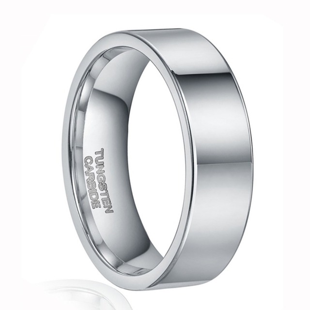 8MM Ring Men Silver Tungsten Carbide Wedding Band bague homme argent Beveled Edges Brushed Plain Male Jewelry aneis masculino