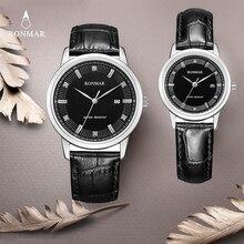 2017 New Top Brand RONMAR Lovers' Watch Gift Watch Luxury Men Women Business Leather Watches RM8003 Quartz Wristwatch