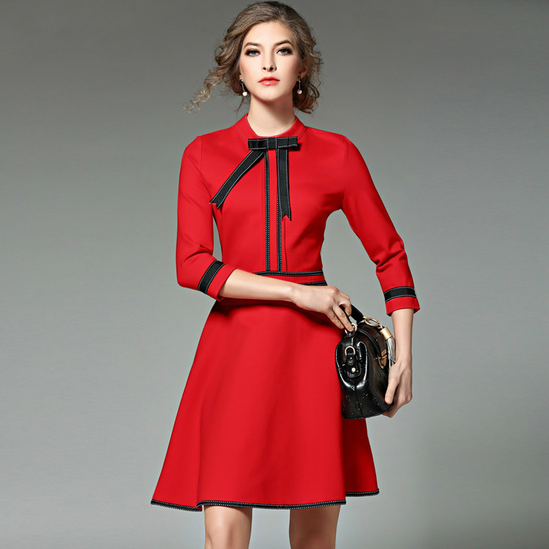 New Ladies Fashion Red Christmas Dress 2017 Vestidos Ukraine Black Women Party Dresses Winter Dresses Robe Femme Jenner
