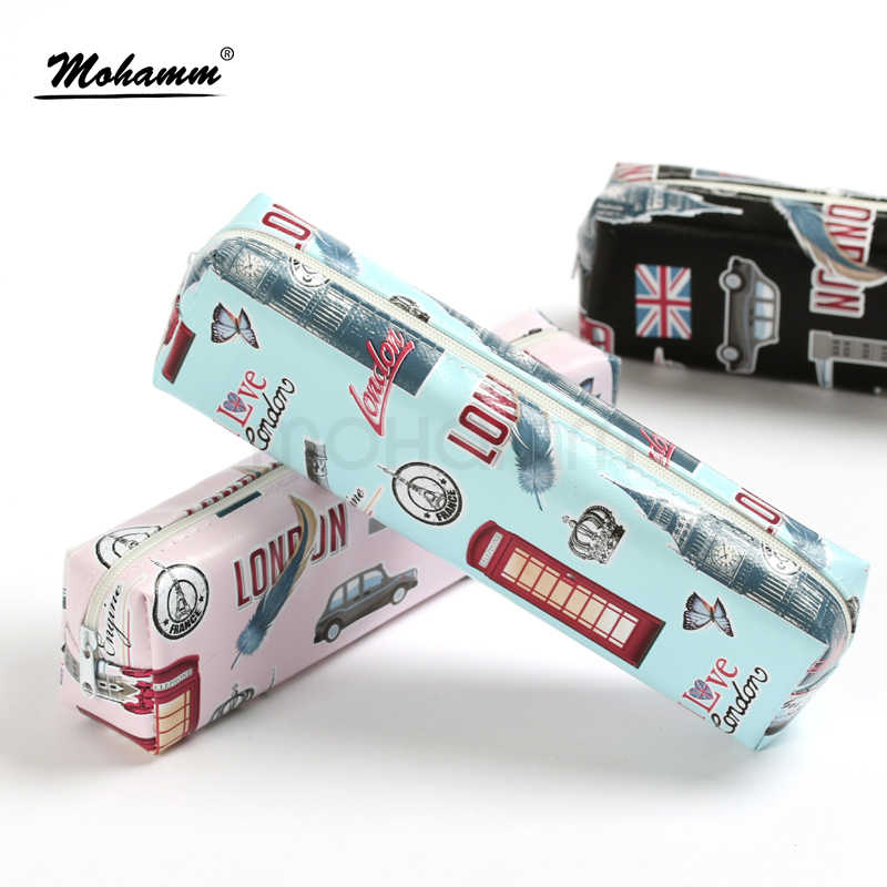 Eiffel Tower London Portable PU Leather Make Up Pencil Bag Holder Pouches Stationary For Kids Teen Girls Boys 6 Colors
